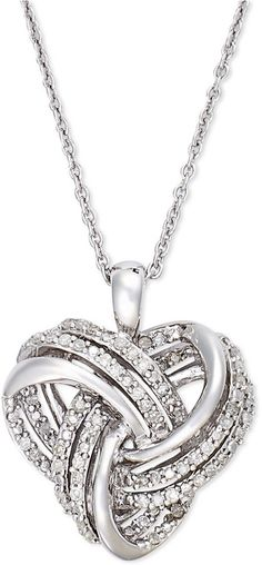 Wrapped in LoveTM Diamond Heart Pendant Necklace in Sterling Silver (1/4 ct. t.w.) on shopstyle.com
