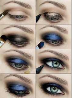 Bold, blue, smokey eyes