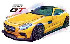 Mercedes-Benz AMG GT Benz Car, Mercedes Benz Amg, Street Racing Cars, Mens Toys, Gt Cars, Car Illustration, Futuristic Cars, Car Sketch, Car Drawings