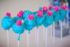 Flower adorned cake pops from Pretty Princess Cinderella Birthday Party at… 4th Birthday Parties, Birthday Diy, Blue Cake Pops, Cinderella Birthday, Party Photography, Pink Sugar, Cute Cakes, Princess Party, Themed Cakes