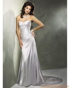 Neue Günstige silberne Brautmode aus Satin Herzausschnitt und verzierter Rock mit langer Schleppe