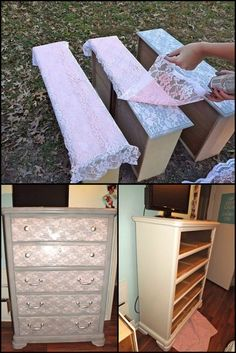 How To Paint A Lace Effect On A Dresser How To Paint A Lace Effect On A Dresser Redesigning an old piece of furniture is a very fun activity that lets you use your imagination and get creative. Here's a great idea on how you can freshen up the look of y Lace Painted Furniture, Paint Furniture, Kids Furniture, Furniture Makeover, Furniture Decor, Furniture Design, Furniture Stores, Luxury Furniture, Diy Garden Furniture