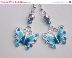 BLOWOUT SALE Blue Butterfly Earrings by EriniJewel on Etsy, $7.00