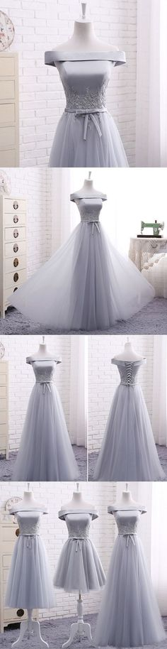 Elegant A line gray off shoulder long prom dress, short evening dresses,Formal