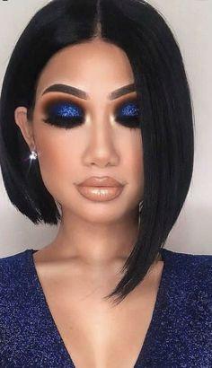 Party Makeup Looks, Glam Makeup Look, Makeup Eye Looks, Blue Eye Makeup, Makeup For Brown Eyes, Makeup For Blue Dress, Blue Eyeshadow For Brown Eyes, Navy Blue Makeup, Sultry Makeup
