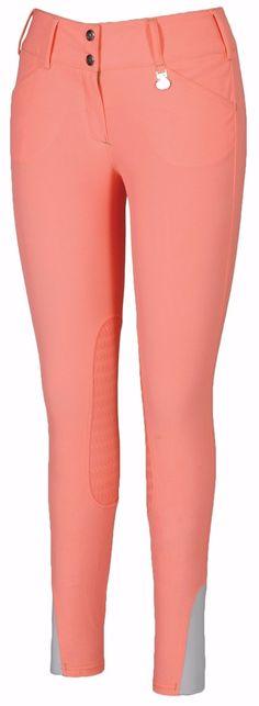 TuffRider Neon Knee Patch Breeches | Neon Peach