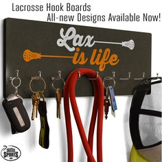Bring your lax style into any room of the house with our new lacrosse hook boards, ideal for small accessories such as hats, lanyards, pinnies, and more. Also make a great medal display!