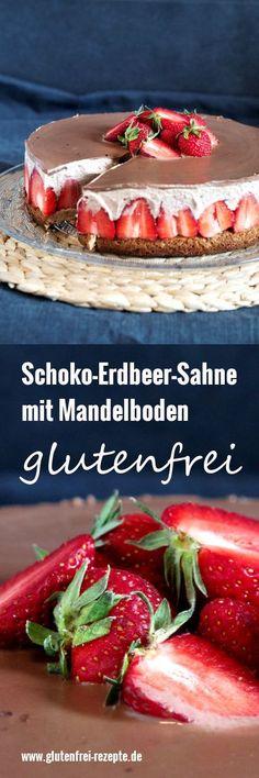 Hier kommt das Rezept für die unglaublich schöne Schoko Erdbeer Sahne glutenfrei und zwar mit Mandelboden. Sieht sie nicht unglaublich aus? Ein Prachtstück, das für Aufsehen sorgt. Dabei ist sie so einfach zu backen, ein Kinderspiel, auch ohne Gluten, Ei und Zucker.