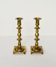 Vintage Brass Candlesticks Set of 2 Brass Candle by JudysJunktion, $50.00