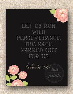 Hebrews 12:1 Chalkboard Floral Print by BWPrints on Etsy