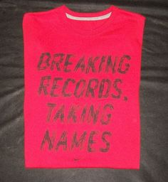 """MEN'S NIKE """"BREAKING RECORDS TAKING NAMES"""" T-SHIRT RED LARGE XL COTTON TEE NWT #NIKE #GraphicTee"""