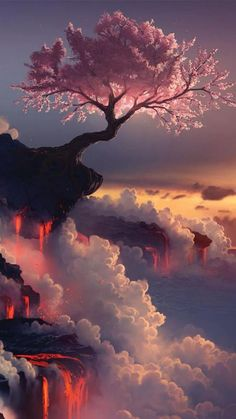 Fuji Volcano, Japan and a cherry blossom tree (photoshopped or not...its beautiful....)