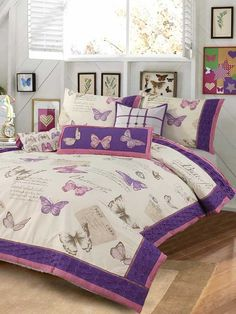Butterfly (8 Piece) Quilt Cover Set Cotton - An array of colorful butterflies take flight on this printed comforter. It adds the perfect touch of spring time style to your bedroom at a price that can't be beat. Add some fashion to your room with these butterflies quilt cover set bordered with purple pin tucks to create a fabulous 3D texture.