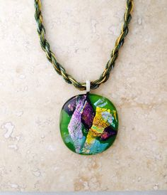 Green  Fused Glass Pendant with matching by 3DGlassDesigns on Etsy