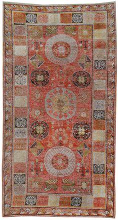 ::::    PINTEREST,COM christiancross    :::: Khotan carpet, East Turkestan.