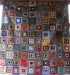 SUPERBE maisonnette Antique Vintage Quilt-une œuvre d'Art - soieries, velours, laine, chemises de robe
