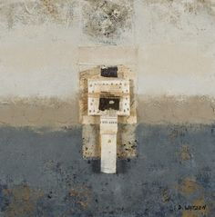 Landmark, cold wax and oil paints with collage by Donna Watson