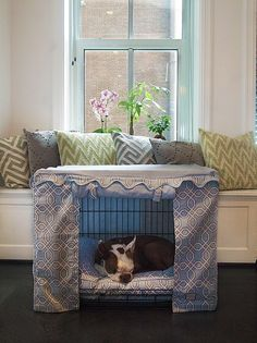 Our new Moroccan Trellis pattern crate cover and matching bed set. Home sweet home. www.bowhausnyc.com