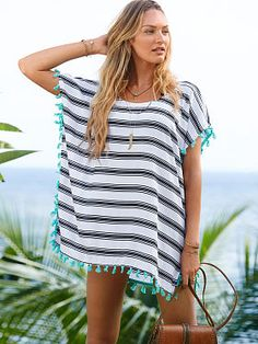 Tassel-trim Caftan- I'd wear this with shorts or jeans. ...just love it. Comfy. - Shop The Top Online Shopping Sites - http://AmericasMall.com/categories/swimwear.html