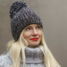 Hand knitted mohair hat in black and gray melange