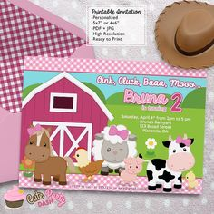 Barnyard Girl Birthday Party invitations DIY by CutePartyDash