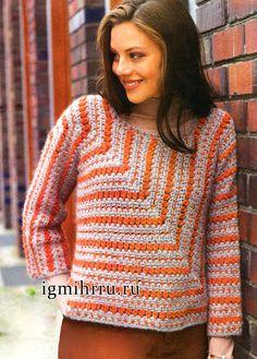 Butterfly Creaciones: Alpaca jersey de dos colores, unidos por una única web. Crochet