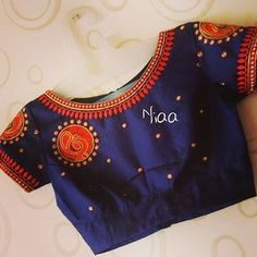 No photo description available. Simple Blouse Designs, Stylish Blouse Design, Fancy Blouse Designs, Bridal Blouse Designs, Blouse Neck Designs, Kurti Embroidery Design, Embroidery Blouses, Kerala Saree Blouse Designs, Designer Blouse Patterns