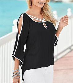Awaytr Big Sizes Women's Chiffon Blouses New Summer Style Flare Sleeve Shirts Women 2016 Casual Black White Patchwork Blusas
