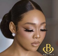 womens Makeup Looks Black Bridal Makeup, Black Girl Makeup, Bridal Makeup Looks, Natural Wedding Makeup, Bridal Hair And Makeup, Bride Makeup, Wedding Hair And Makeup, Girls Makeup, Hair Makeup