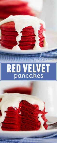 What better way to wake up than with a big stack of these Red Velvet Pancakes with Cream Cheese Drizzle? Whether for a holiday or a special treat, these red velvet pancakes are light and fluffy and quick to whip up.