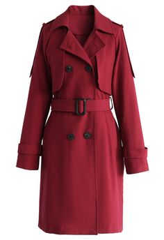 Classic Double-breasted Trench Coat in Wine - New Arrivals - Retro, Indie and Unique Fashion