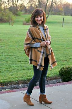 I'm mixing stripes and plaid with this outfit. My blanket scarf is from H&M, I love the camel and black.