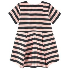 Fine cotton lining Dress: Stylish item Crew neck Short sleeves Flat pleats on the front and in the back Puff shape at the bottom Slit pockets Zipper in the back Two-colored stripes - $ 70