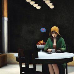 by Nastya Nudnik #creativity #inspiration #art #visualart #artoftheday #illustration #editorialillustration #design #graphicdesign #drawing #instaart #photooftheday #bestoftheday #instagood #picame #edwardhopper #nastyanudnik #emoji by picame