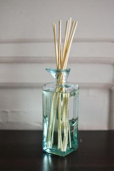 #diy reed diffuser: 1/4 c. water, 3 tbsp. vodka, 12 drops essential oil