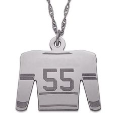 Sterling Silver Personalized Hockey Sweater Necklace (48), Women's, Size: 20 Inch, White (jersey)
