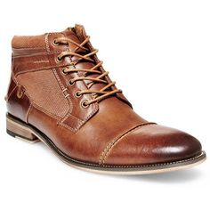 Steve Madden Brown Jensunn Lace-Up Dress Boots ($100) ❤ liked on Polyvore featuring men's fashion, men's shoes, men's boots, brown, steve madden mens boots, mens brown cap toe dress shoes, mens brown shoes, mens lace up shoes and mens rugged boots
