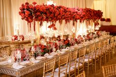Elevated Pulse Productions and Lighting, stunning red and gold details, modern design, The Resort at Pelican Hill, wedding inspiration, event lighting, wedding lighting, red roses, lavish centerpieces, pin spot lighting, gold details, featured on LoveLuxeLife, see more at www.loveluxelife, #weloveluxelife