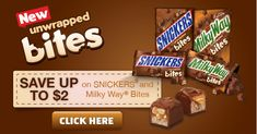 High Value Snickers & Milky Way Bites Printable Coupon up to $2 off on time2saveworkshops.com #gamedaybites #cbias #shop #sponsored