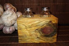 Salt and pepper stand made in a driftwood style.