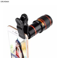 146c9b043364 Girlwoman 12x Zoom Telescope Portable Mobile Phone Camera Lens and Clip for  iPhone Huawei Honor for