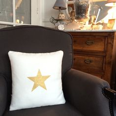 Coussin lin blanc / Etoile Or - 40x40cm