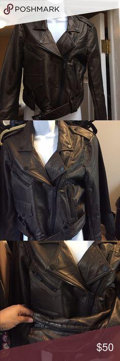 Metallic Calvin Klein biker jacket Metallic/copper crop biker jacket/ belted waist/ zippered sleeves/sits at waist/ brand new / never worn Calvin Klein Jackets & Coats