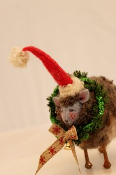 Sheep Gray Sheep Decoration Felted Sheep Elf Christmas by Liongate