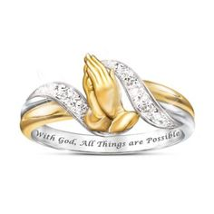 Solid sterling silver ring with 18K gold plating, 6 genuine diamonds and sculpted praying hands. Engraved with inspirational message. Gift box.