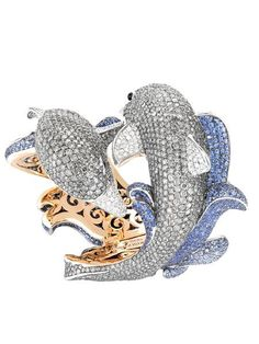 Dolphin bracelet, de Grisogono: Part of the Swiss jewellery brand's haute couture collection, the  Dolphin bracelet comes in white and pink gold set with 1567 grey diamonds, 1135 blue sapphires and 147 white diamonds.