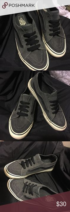 VANS low top sneakers VANS dark gray low tops. Size 8.5 women's 7 men's. Great condition! These babies are hard to come by! Haven't seen another pair like them in years! Vans Shoes Sneakers