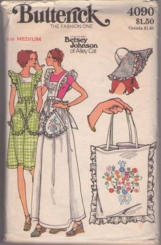 Butterick 4090 Vintage 70's Sewing Pattern FEMININE Young Designer Betsey Johnson of Alley Cat Back Wrap Around & Tied Pinafore Apron Jumper, Dress, HUGE Wide Brimmed Sun Hat, Tote Bag & Embroidery Transfer