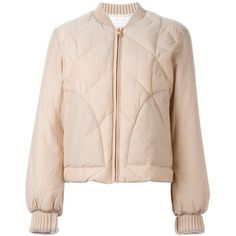 See By Chloé Quilted Puffer Jacket ($522) ❤ liked on Polyvore featuring outerwear, jackets, pink straight jacket, long sleeve jacket, quilted puffer jacket, straight jacket and see by chloé