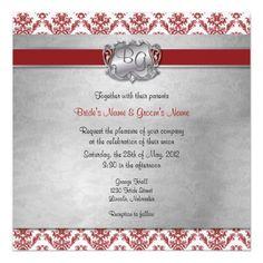 Deep Red & Silver Elegant Wedding Invite - 2-NEW #Wedding #Invitation #damask #silver #Weddinginvitation #matchingset